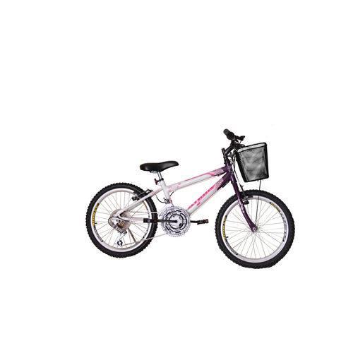 Bicicleta Aro 20 Mtb 18 Marchas Charme Feminino com Cestão Violeta Athor Bike