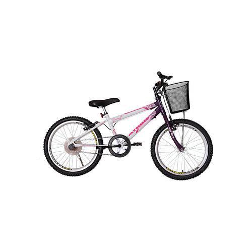 Bicicleta Aro 20 Mtb Sem Marcha Charme Feminina com Cestão Violeta Athor Bike