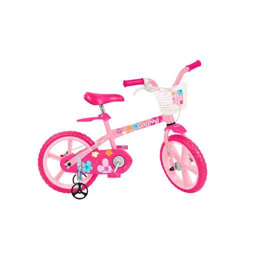 Bicicleta Aro 14 com Rodinhas e Cestinha Gatinha - Bandeirante