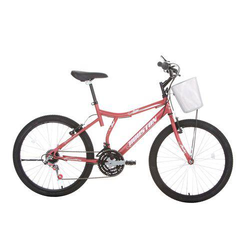 Bicicleta Aro 24 Houston Bristol Peak com Cesta 21 Marchas Vermelho