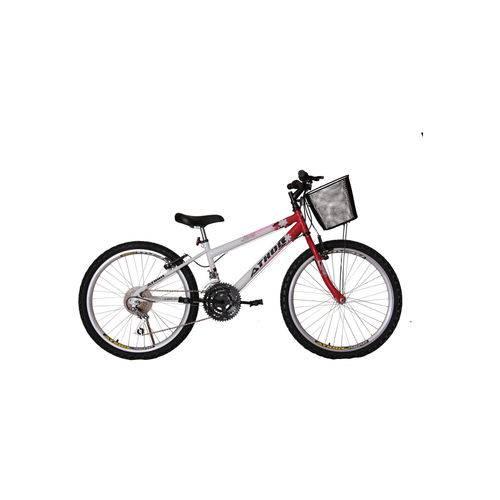 Bicicleta Aro 24 Mtb 18 Marchas Model Feminina com Cestão Vermelha Athor Bike