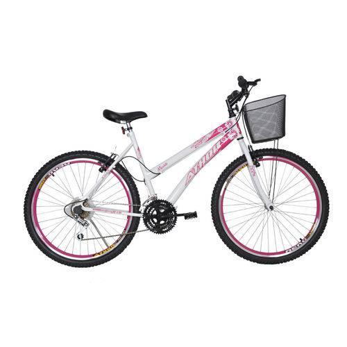 Bicicleta Aro 26 18M Musa Rosa e Branco Athor Branco;Rosa Único