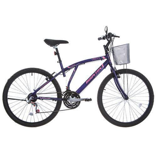 Bicicleta Aro 26 Houston Bristol Lance com Cesta 21 Marchas Violeta