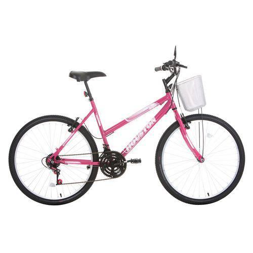 Bicicleta Aro 26 Houston Foxer Maori com Cesta 21 Marchas Rosa Pink