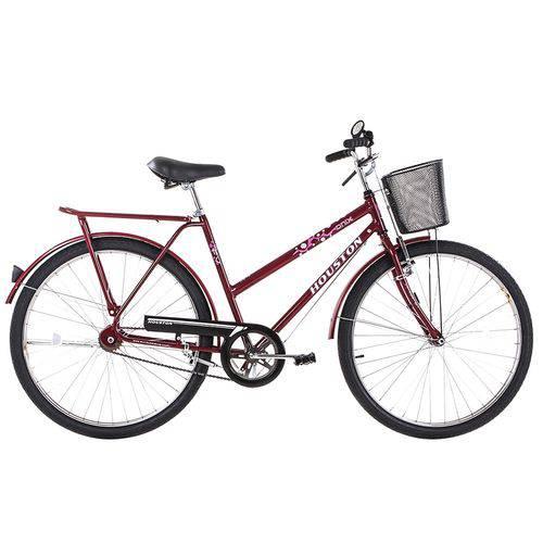 Bicicleta Aro 26 Houston Onix Fv com Cesta Freio Varão Vermelho Sun