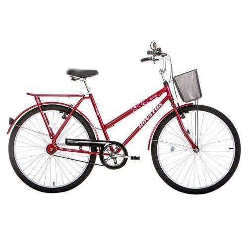 Bicicleta Aro 26 Houston Onix Vb com Cesta Freio V-Brake Vermelho Sun