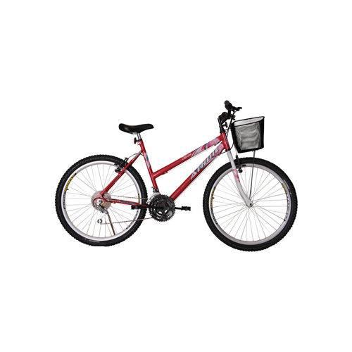 Bicicleta Aro 26 Mtb 18 Marchas Model Feminina com Cestão Vermelha Athor Bike