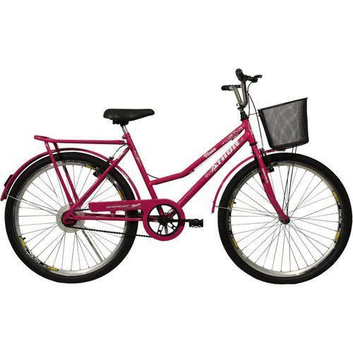 Bicicleta Aro 26 V-Brake com Cestão Venus Rosa Athor
