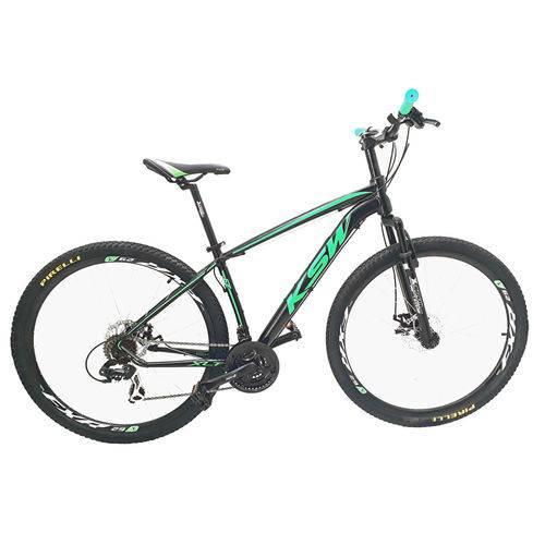 Bicicleta Aro 29 Ksw T-19 24v. F.dis. Prt/verde Brilho