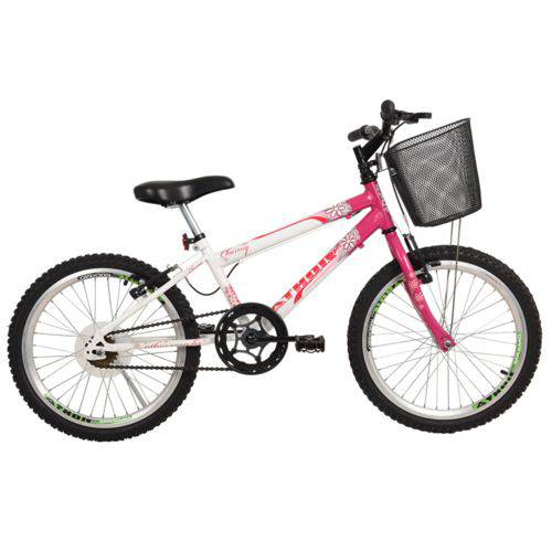 Bicicleta Athor Aro 20 MTB Charme Rosa com Cesta