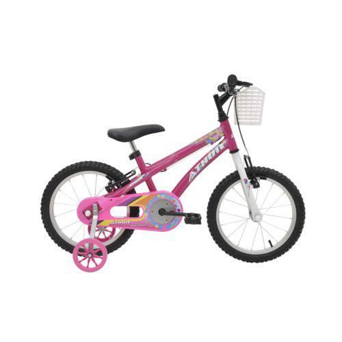 Bicicleta Athor Aro 16 Baby Girl Feminino com Cestinha Rosa