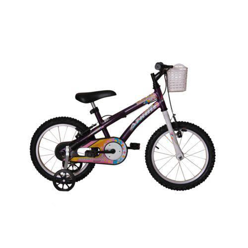 Bicicleta Athor Aro 16 Baby Girl Feminino com Cestinha Violeta