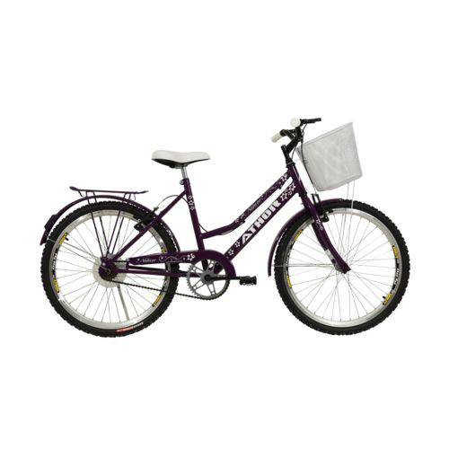 Bicicleta Athor Aro 24 Nature Freio V- Brake C/ Cestão - Violeta