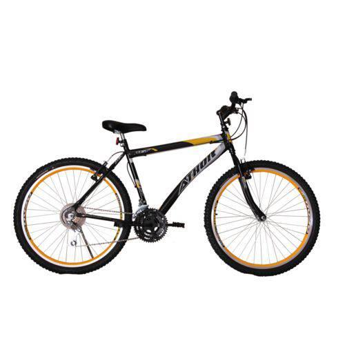 Bicicleta Athor Aro 26 Mtb 18/m Jet Preta C/ Adesivo Amarelo