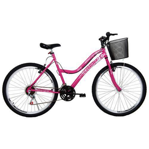 Bicicleta Athor Aro 26 Mtb 18/m Musa Fem. C/ Cestão - Rosa