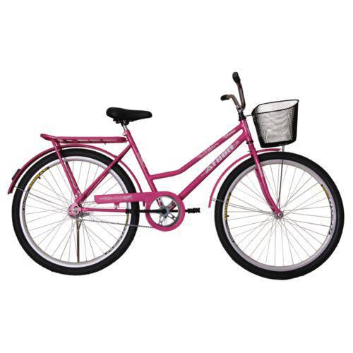 Bicicleta Athor Aro 26 Venus Freio C/ Pedal C/ Cestão Rosa