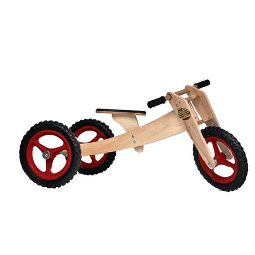 Bicicleta de Madeira: Woodbike Kit 3 em 1 - Vermelha