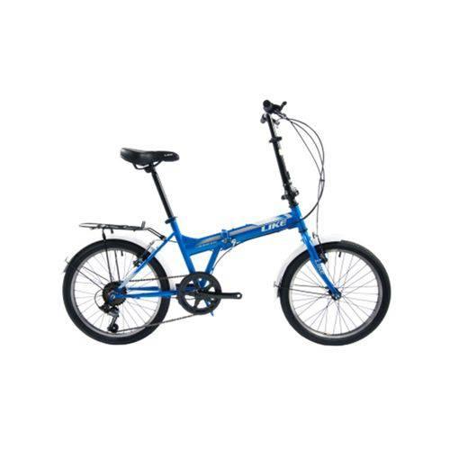 Bicicleta Dobrável 6 Velocidades Aro 20 Azul - Like