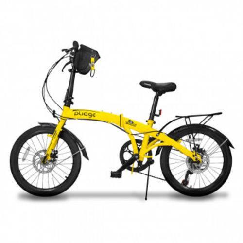 Bicicleta Dobravel Pliage Plus 7 Marchas Freio a Disco Amarela Two Dogs