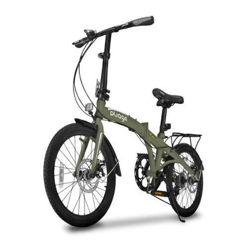 Bicicleta Dobravel Two Dogs Pliage Plus 7 Marchas Freio a Disco Verde Militar