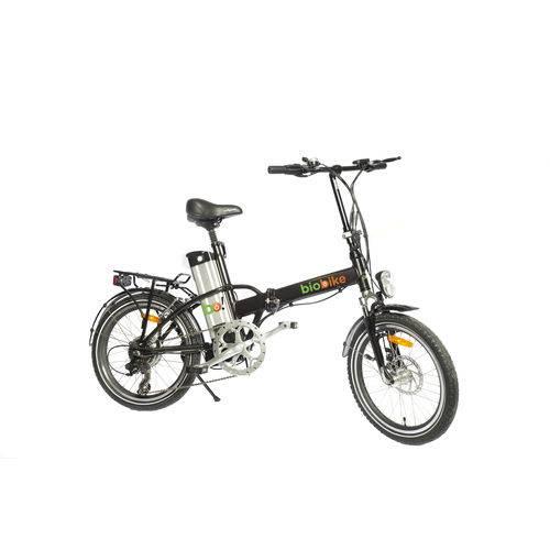 Bicicleta Elétrica Biobike, Dobrável, Quadro em Alumínio - Modelo JS 12 - Preta