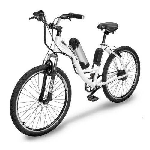 Bicicleta Elétrica Two Dogs Urbana Aro 26 Slim Branca