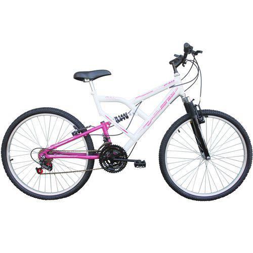 Bicicleta Full FA240 18V Aro 26 Branco/Rosa - Mormaii