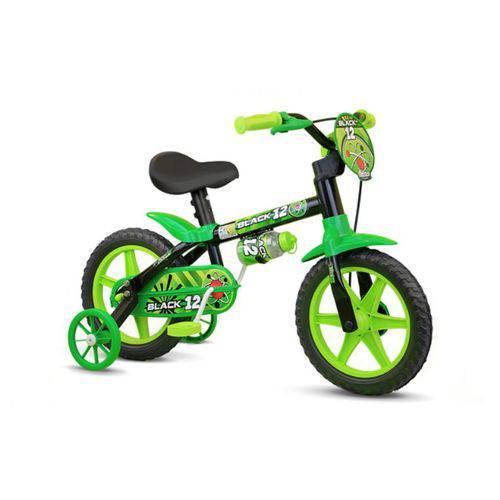 Bicicleta Infantil Aro 12 Black 12 Selim PU (Banco Macio)