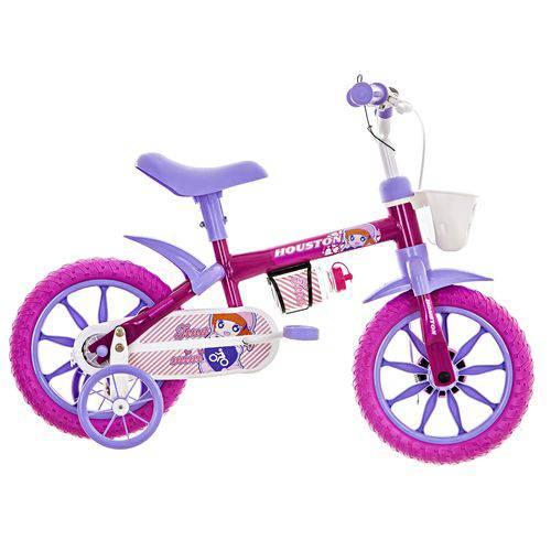Bicicleta Infantil Aro 12 Houston Tina Mini com Rodinhas Rosa
