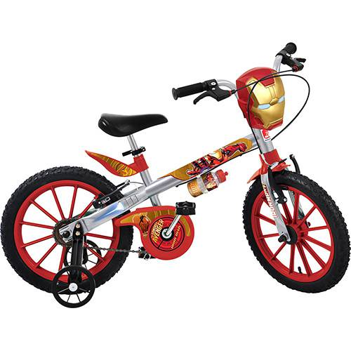 """Bicicleta Infantil Bandeirante Homem de Ferro Vingadores Aro 16"""" - Prata/Vermelha"""