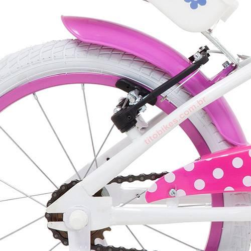 """Bicicleta My Bike Tito Bikes Aro 16"""" Branca e Rosa"""