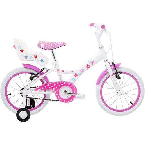 """Bicicleta My Bike Tito Bikes Aro 16"""" Branco e Rosa"""