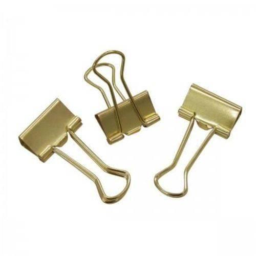 Binder Clips Tilibra - Dourado 19mm - 12 Unidades
