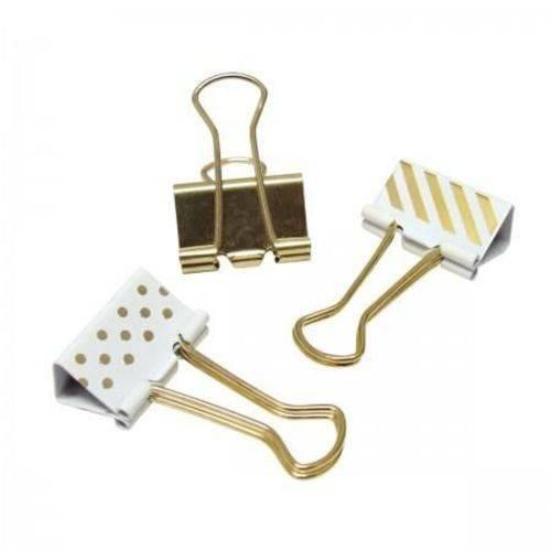 Binder Clips Tilibra - Dourado | Estampado 25mm - 10 Unidades