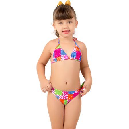Biquíni Cortininha Infantil Estampado Maria Rosa / P