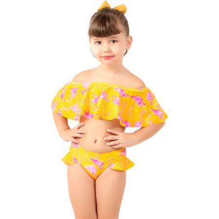 Biquíni Cropped Ciganinha Infantil Estampado (Amarelo) P