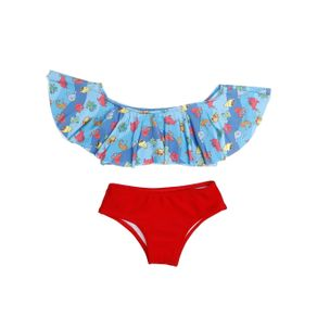 Biquini Infantil para Menina - Azul/vermelho 6