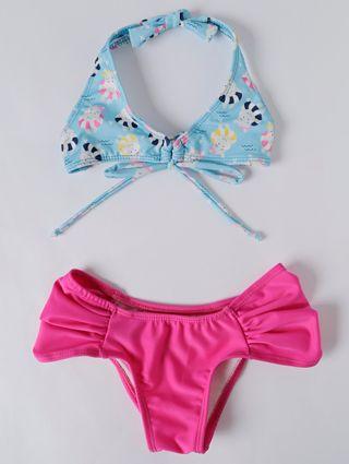 Biquini Infantil para Menina - Rosa/azul