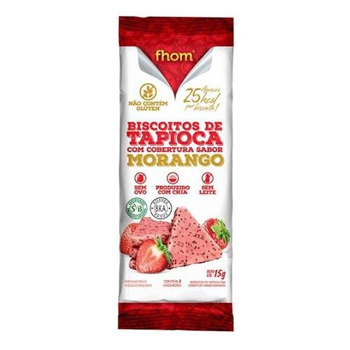 Biscoito de Tapioca com Cobertura Sabor Morango Fhom 15g