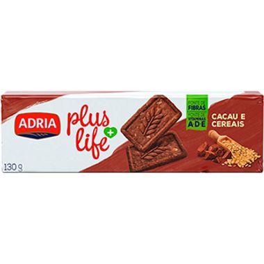 Biscoito Plus Life Integral Cacau e Cereais Adria 130g