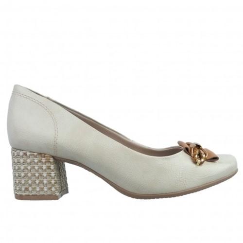 Bizz Store - Sapato Feminino Comfortflex Verniz Salto Geométrico