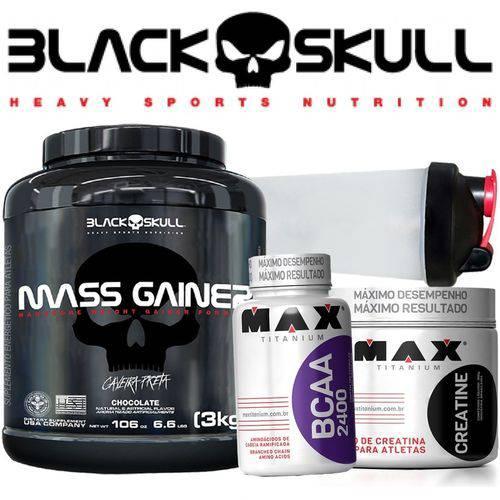 Black Skull Importado - Massa Gainer Hipercalórico 3kg Creatina Bcaa Bope