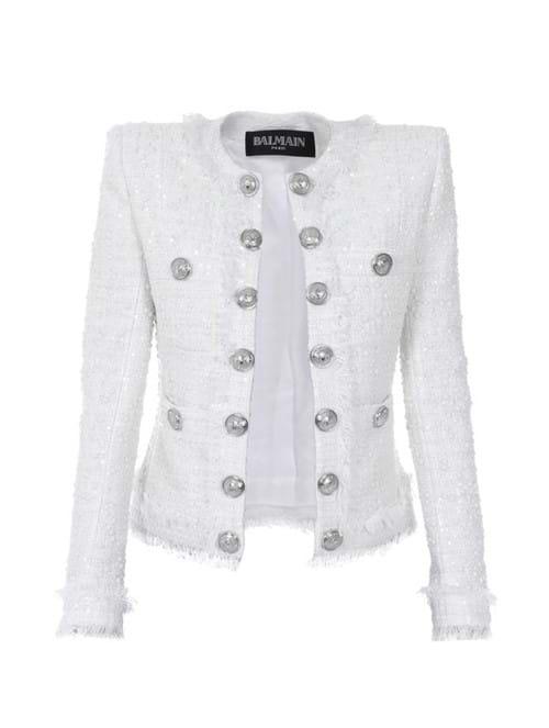 Blazer Botões Tweed Branco Tamanho 36