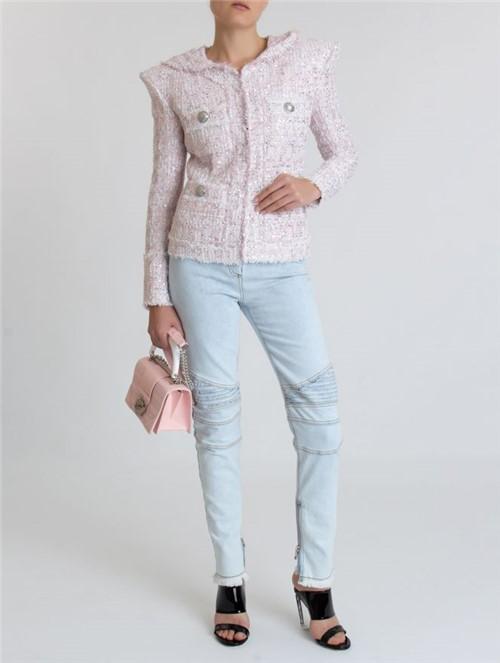Blazer Tweed Capuz Rosa Tamanho 36