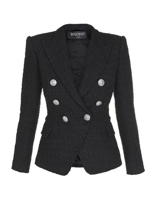 Blazer Tweed de Algodão Preto Tamanho 36