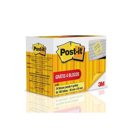 Bloco Adesivo Post-it® 653 38mmx50mm, Amarelo Leve 24 Bl Pague 20 C/100 Fls - 3M