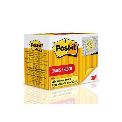 Bloco Adesivo Post-it® 76mmx102mm, Amarelo Leve 6 Bl Pague 5 C/100 Fls - 3M
