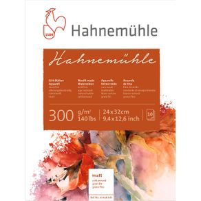 Bloco Aquarela Hahnemuhle 300 G/m² Grain Fin 24 X 32 Cm com 10 Folhas Hahnemuhle