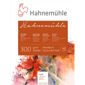 Bloco Aquarela Hahnemuhle 300 G/m² Grain Fine 36 X 48 Cm com 10 Folhas Hahnemuhle