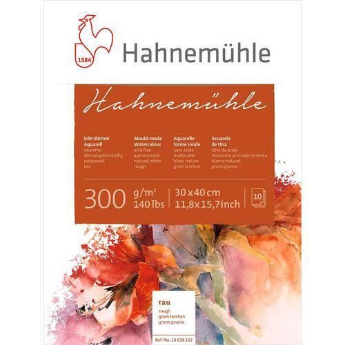 Bloco Aquarela Hahnemuhle 300 G/m² Grain Torchon 30 X 40 Cm com 10 Folhas Hahnemuhle
